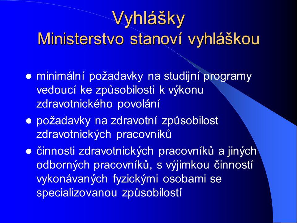 Vyhlášky Ministerstvo stanoví vyhláškou minimální požadavky na studijní programy vedoucí ke způsobilosti k výkonu zdravotnického povolání požadavky na