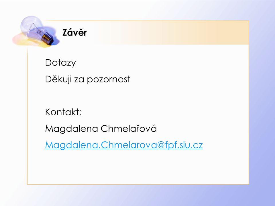 Závěr Dotazy Děkuji za pozornost Kontakt: Magdalena Chmelařová Magdalena.Chmelarova@fpf.slu.cz