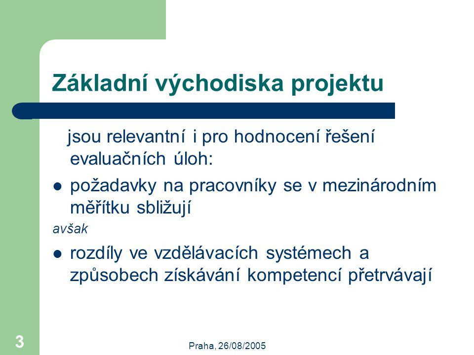 Praha, 26/08/2005 3 Základní východiska projektu jsou relevantní i pro hodnocení řešení evaluačních úloh: požadavky na pracovníky se v mezinárodním měřítku sbližují avšak rozdíly ve vzdělávacích systémech a způsobech získávání kompetencí přetrvávají