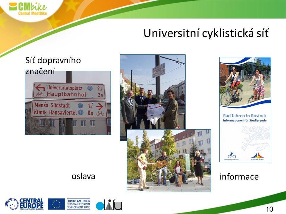 10 Universitní cyklistická síť Síť dopravního značení informace oslava