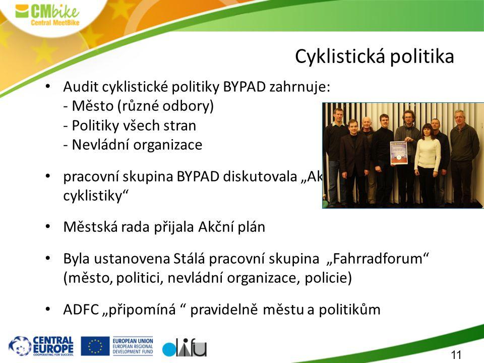 """11 Cyklistická politika Audit cyklistické politiky BYPAD zahrnuje: - Město (různé odbory) - Politiky všech stran - Nevládní organizace pracovní skupina BYPAD diskutovala """"Akční plán propagace cyklistiky Městská rada přijala Akční plán Byla ustanovena Stálá pracovní skupina """"Fahrradforum (město, politici, nevládní organizace, policie) ADFC """"připomíná pravidelně městu a politikům"""