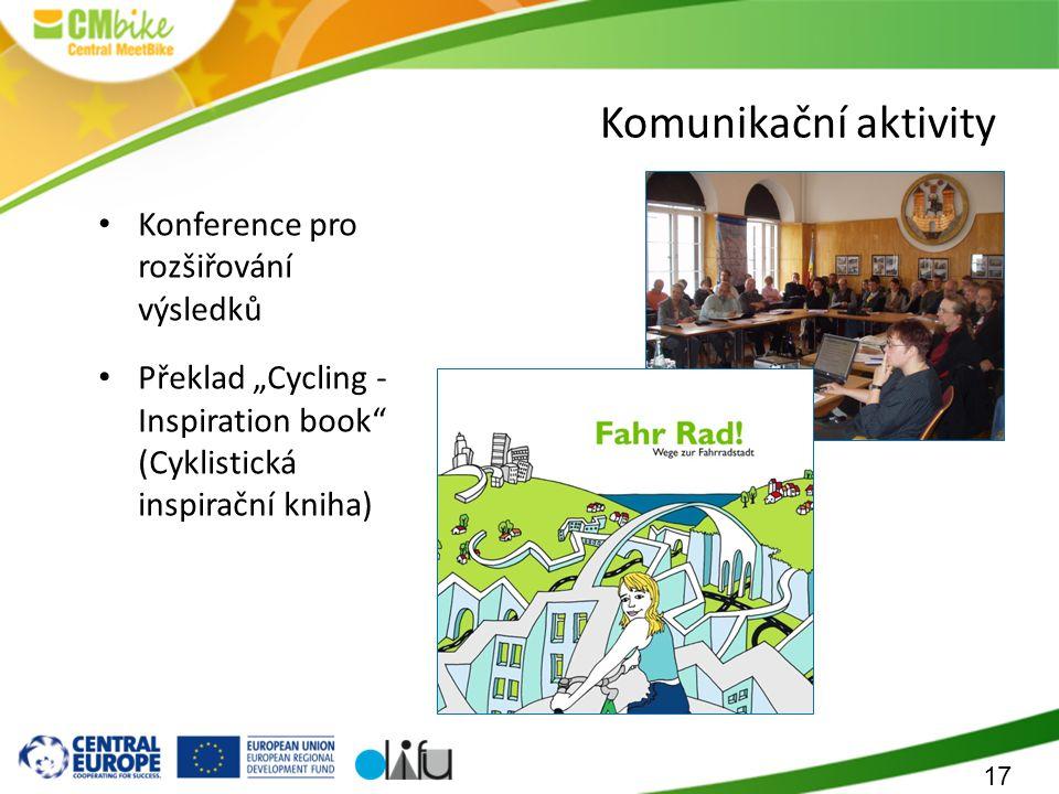 """17 Komunikační aktivity Konference pro rozšiřování výsledků Překlad """"Cycling - Inspiration book (Cyklistická inspirační kniha)"""