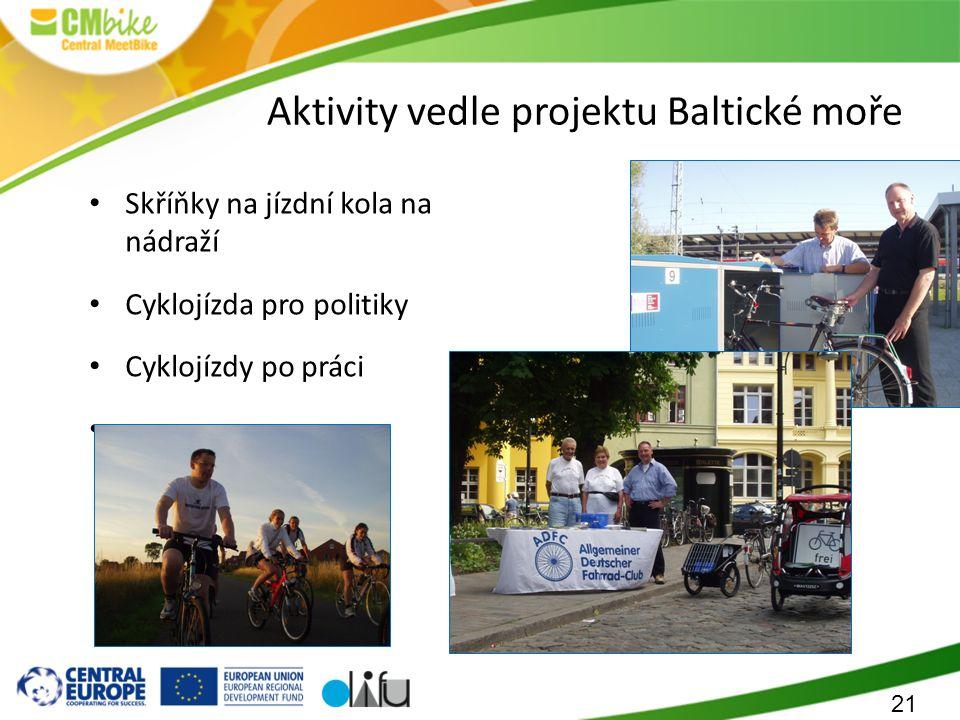 21 Aktivity vedle projektu Baltické moře Skříňky na jízdní kola na nádraží Cyklojízda pro politiky Cyklojízdy po práci …