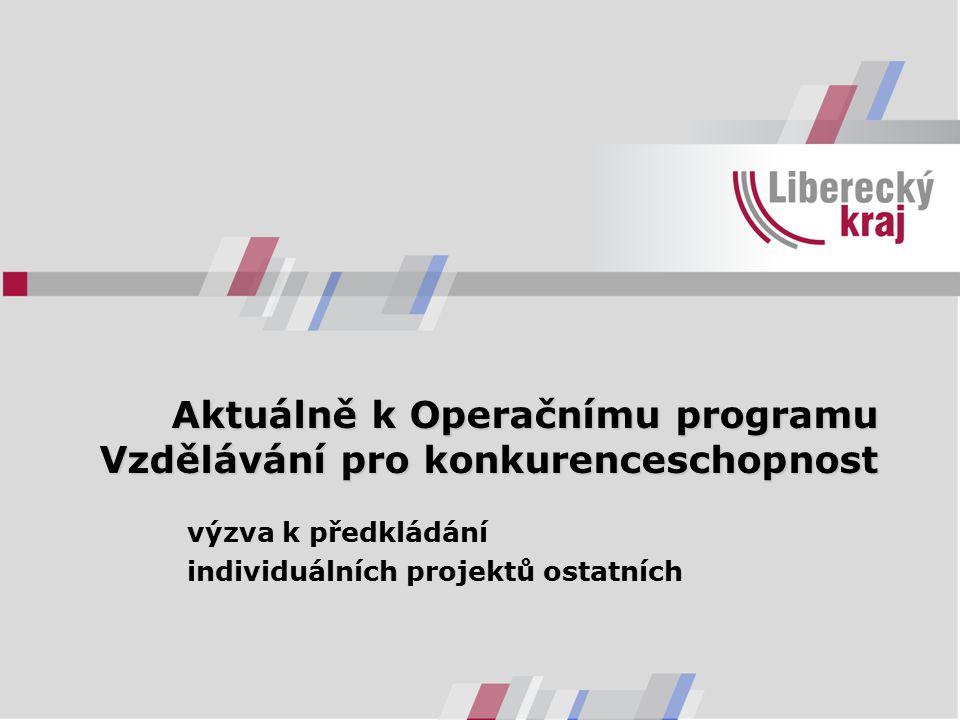 Aktuálně k Operačnímu programu Vzdělávání pro konkurenceschopnost výzva k předkládání individuálních projektů ostatních