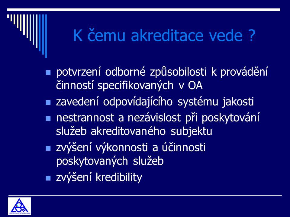 K čemu akreditace vede ? n potvrzení odborné způsobilosti k provádění činností specifikovaných v OA n zavedení odpovídajícího systému jakosti n nestra