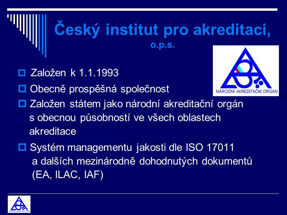 Český institut pro akreditaci, o.p.s.  Založen k 1.1.1993  Obecně prospěšná společnost  Založen státem jako národní akreditační orgán s obecnou půs