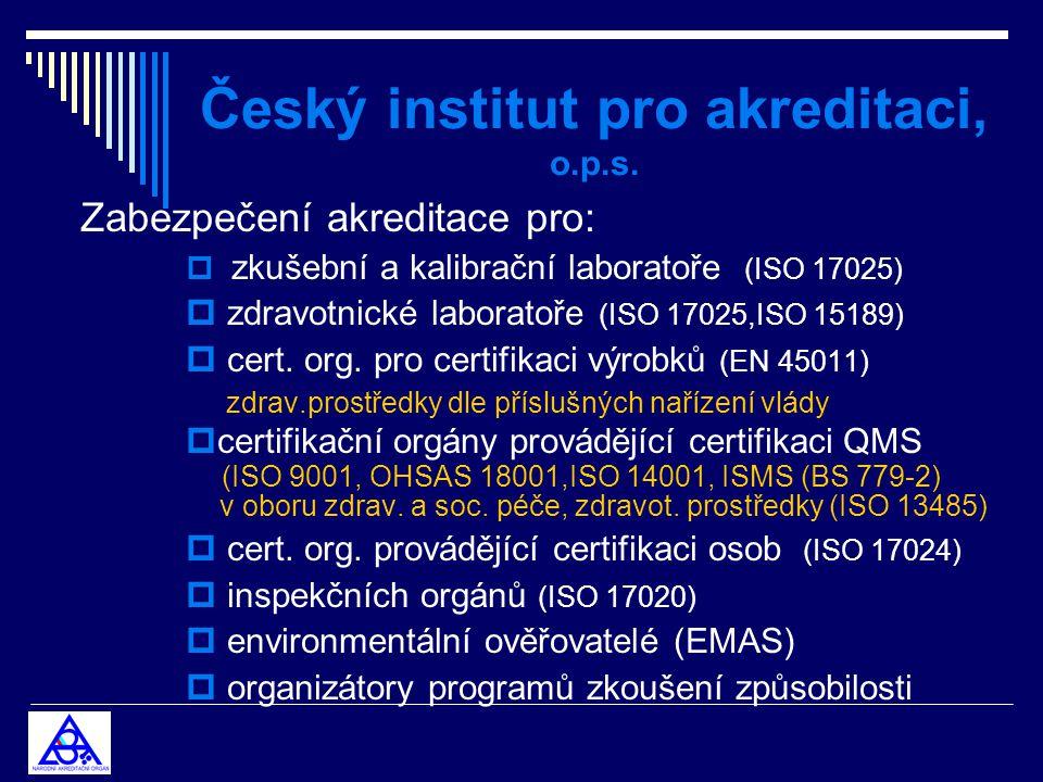 Český institut pro akreditaci, o.p.s. Zabezpečení akreditace pro:  zkušební a kalibrační laboratoře (ISO 17025)  zdravotnické laboratoře (ISO 17025,