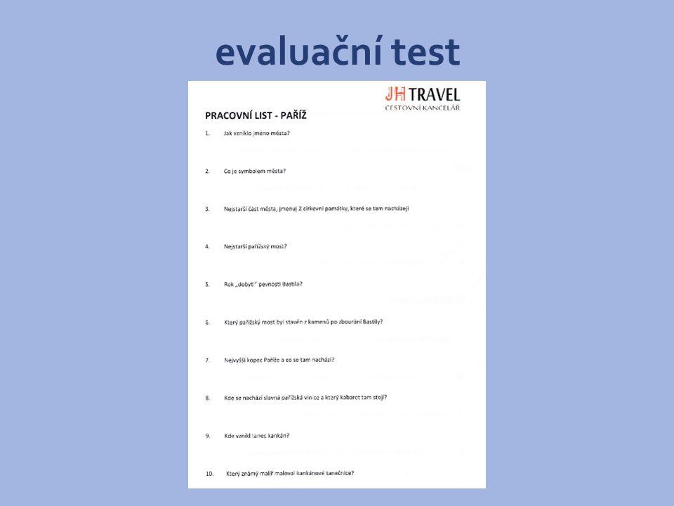 evaluační test