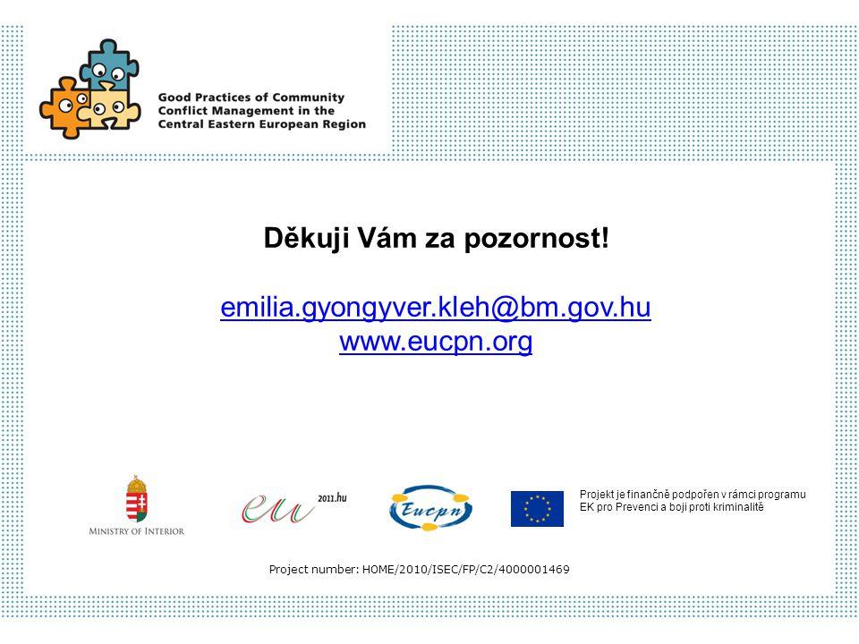 Projekt je finančně podpořen v rámci programu EK pro Prevenci a boji proti kriminalitě Project number: HOME/2010/ISEC/FP/C2/4000001469 Děkuji Vám za p