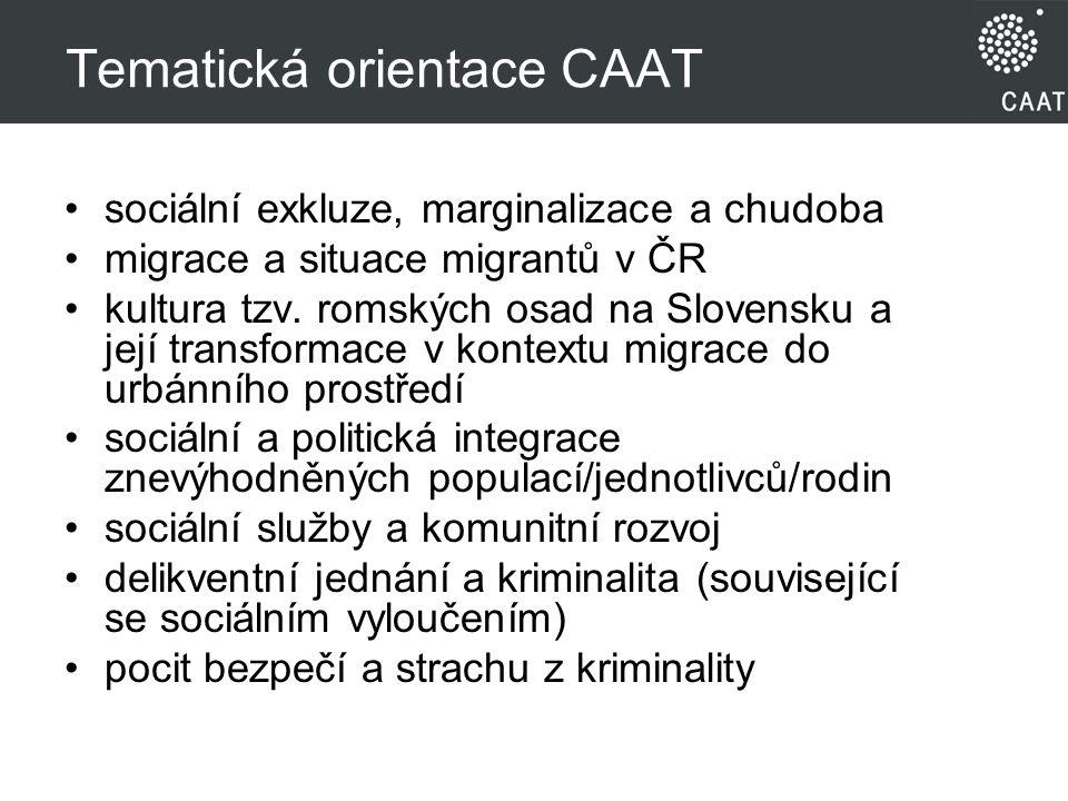 Tematická orientace CAAT sociální exkluze, marginalizace a chudoba migrace a situace migrantů v ČR kultura tzv.