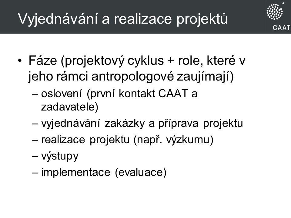 Vyjednávání a realizace projektů Fáze (projektový cyklus + role, které v jeho rámci antropologové zaujímají) –oslovení (první kontakt CAAT a zadavatele) –vyjednávání zakázky a příprava projektu –realizace projektu (např.