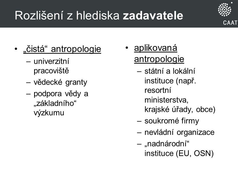 Rozlišení z hlediska zadavatele aplikovaná antropologie –státní a lokální instituce (např.