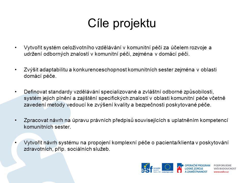 Cíle projektu Vytvořit systém celoživotního vzdělávání v komunitní péči za účelem rozvoje a udržení odborných znalostí v komunitní péči, zejména v dom