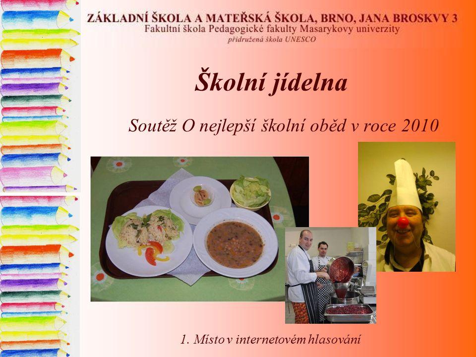 Školní jídelna Soutěž O nejlepší školní oběd v roce 2010 1. Místo v internetovém hlasování