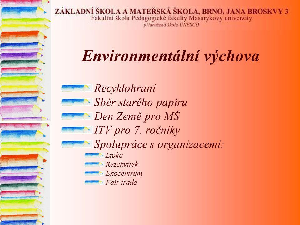 Environmentální výchova Recyklohraní Sběr starého papíru Den Země pro MŠ ITV pro 7. ročníky Spolupráce s organizacemi: Lipka Rezekvítek Ekocentrum Fai