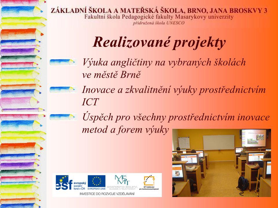 Realizované projekty Výuka angličtiny na vybraných školách ve městě Brně Inovace a zkvalitnění výuky prostřednictvím ICT Úspěch pro všechny prostředni
