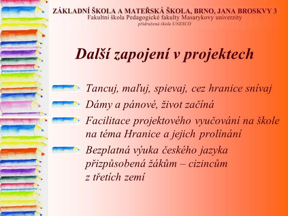 Další zapojení v projektech Tancuj, maľuj, spievaj, cez hranice snívaj Dámy a pánové, život začíná Facilitace projektového vyučování na škole na téma Hranice a jejich prolínání Bezplatná výuka českého jazyka přizpůsobená žákům – cizincům z třetích zemí