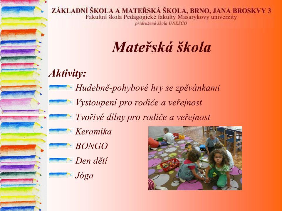 Mateřská škola Aktivity: Hudebně-pohybové hry se zpěvánkami Vystoupení pro rodiče a veřejnost Tvořivé dílny pro rodiče a veřejnost Keramika BONGO Den dětí Jóga