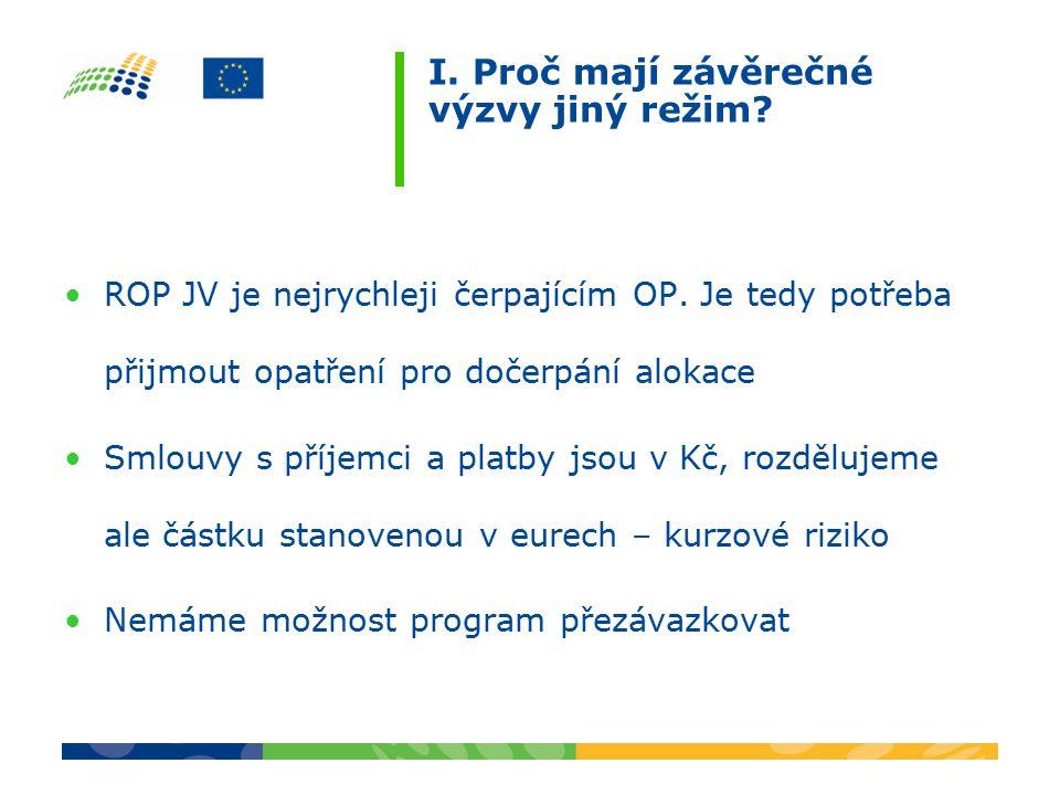 I. Proč mají závěrečné výzvy jiný režim. ROP JV je nejrychleji čerpajícím OP.