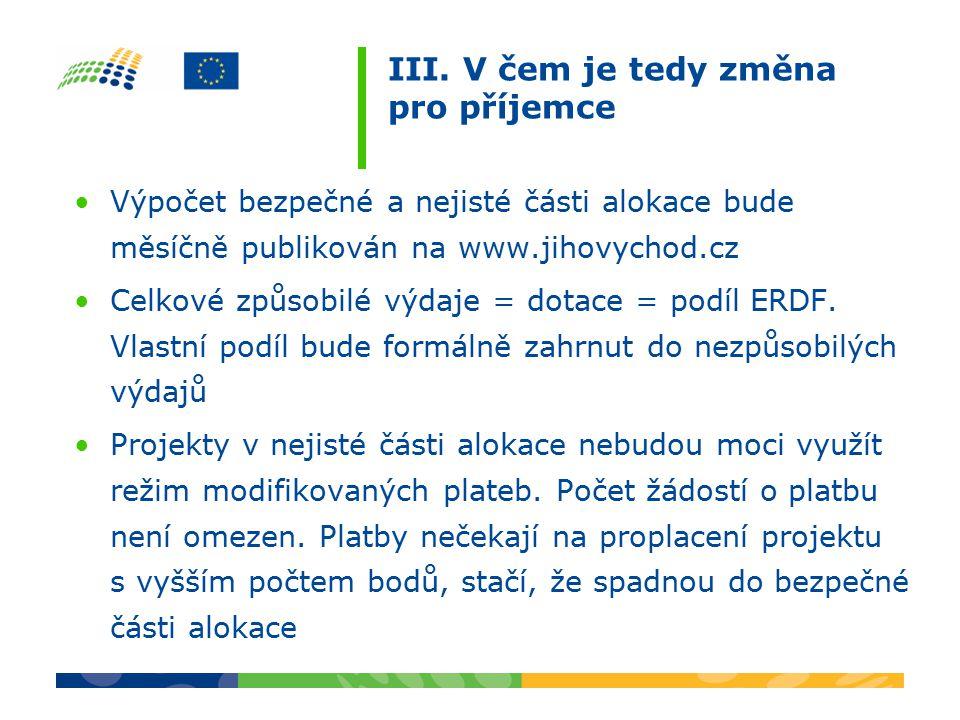 III. V čem je tedy změna pro příjemce Výpočet bezpečné a nejisté části alokace bude měsíčně publikován na www.jihovychod.cz Celkové způsobilé výdaje =