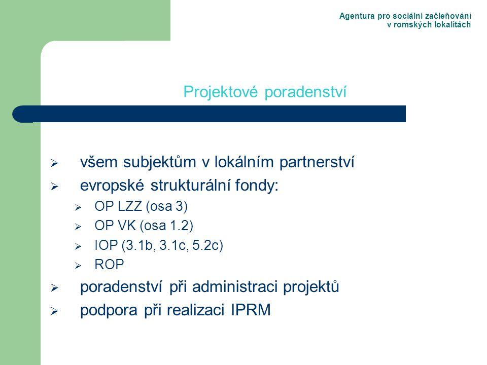 Agentura pro sociální začleňování v romských lokalitách  všem subjektům v lokálním partnerství  evropské strukturální fondy:  OP LZZ (osa 3)  OP VK (osa 1.2)  IOP (3.1b, 3.1c, 5.2c)  ROP  poradenství při administraci projektů  podpora při realizaci IPRM Projektové poradenství
