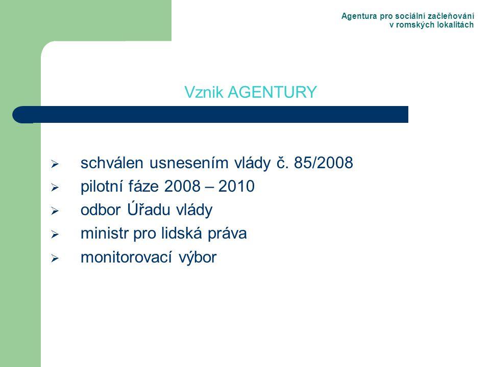 Agentura pro sociální začleňování v romských lokalitách  schválen usnesením vlády č.
