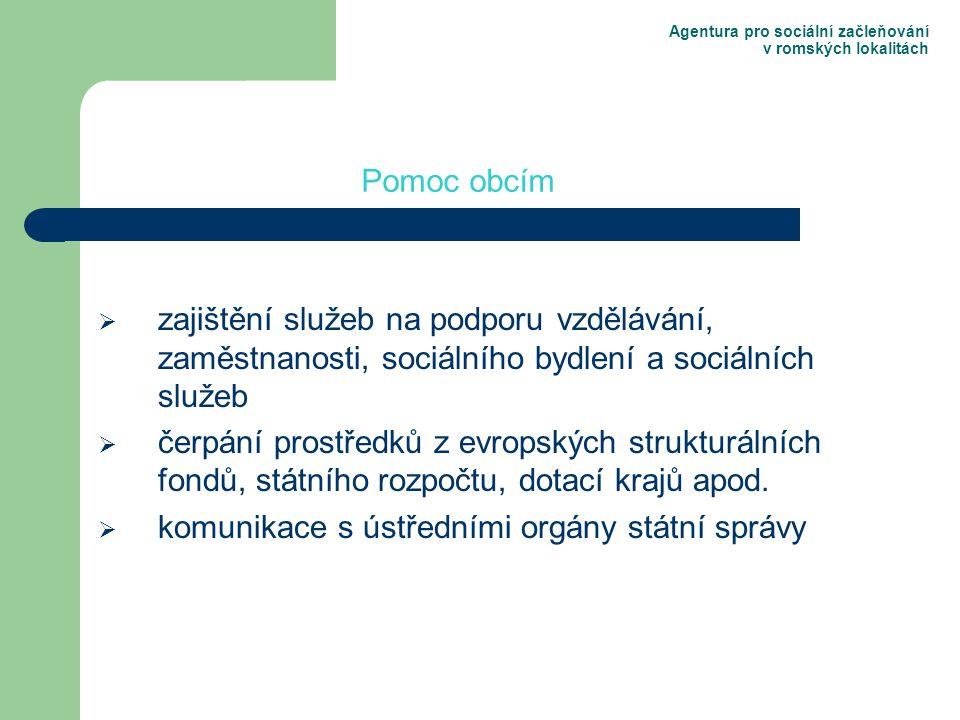 Agentura pro sociální začleňování v romských lokalitách  zajištění služeb na podporu vzdělávání, zaměstnanosti, sociálního bydlení a sociálních služeb  čerpání prostředků z evropských strukturálních fondů, státního rozpočtu, dotací krajů apod.