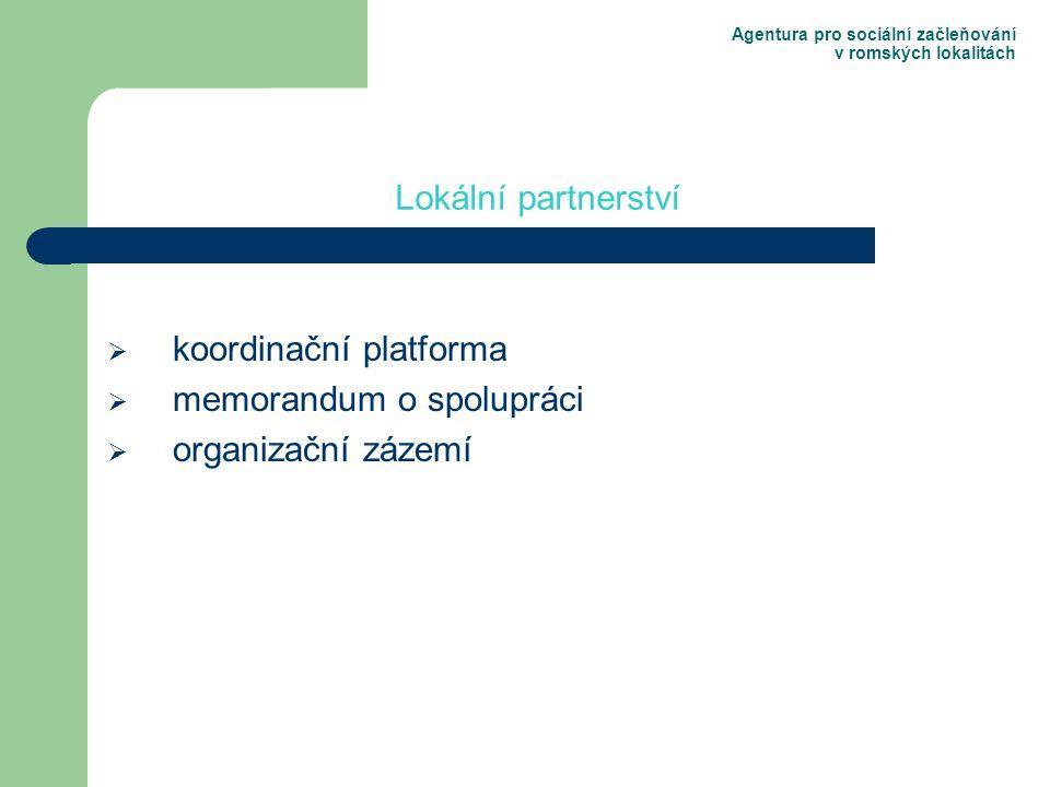 Agentura pro sociální začleňování v romských lokalitách  koordinační platforma  memorandum o spolupráci  organizační zázemí Lokální partnerství
