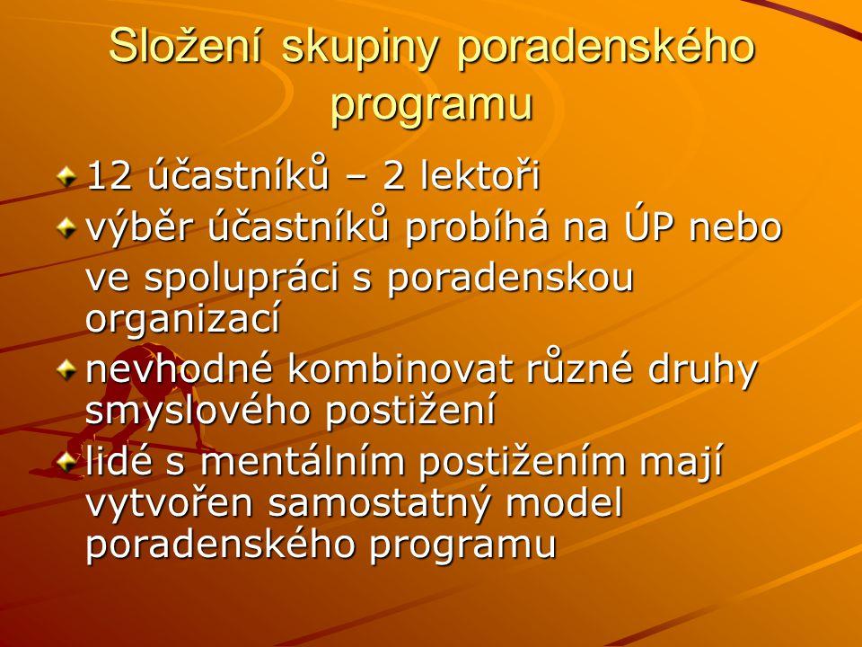 Složení skupiny poradenského programu 12 účastníků – 2 lektoři výběr účastníků probíhá na ÚP nebo ve spolupráci s poradenskou organizací nevhodné komb