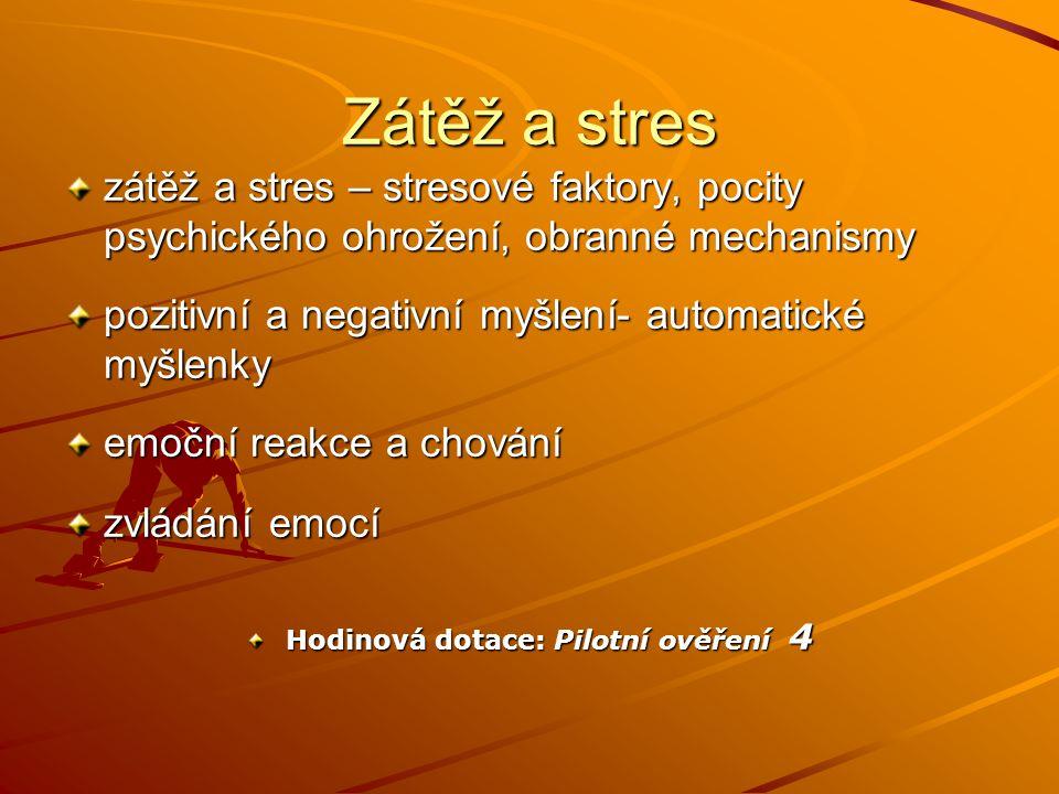 Zátěž a stres zátěž a stres – stresové faktory, pocity psychického ohrožení, obranné mechanismy pozitivní a negativní myšlení- automatické myšlenky em