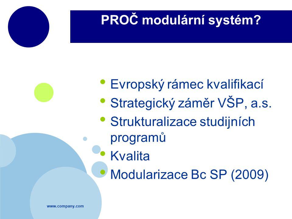 www.company.com PROČ modulární systém? Evropský rámec kvalifikací Strategický záměr VŠP, a.s. Strukturalizace studijních programů Kvalita Modularizace