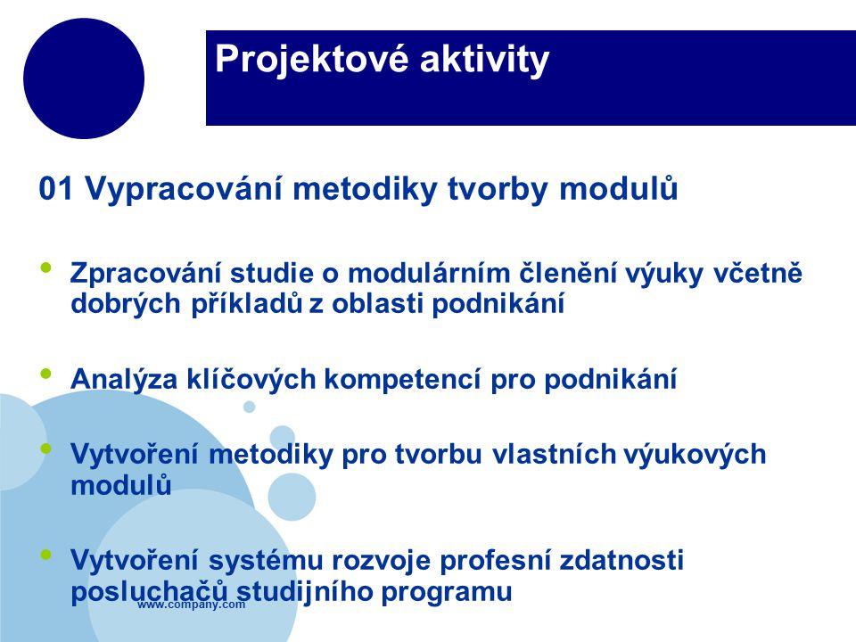 www.company.com Projektové aktivity 01 Vypracování metodiky tvorby modulů Zpracování studie o modulárním členění výuky včetně dobrých příkladů z oblas