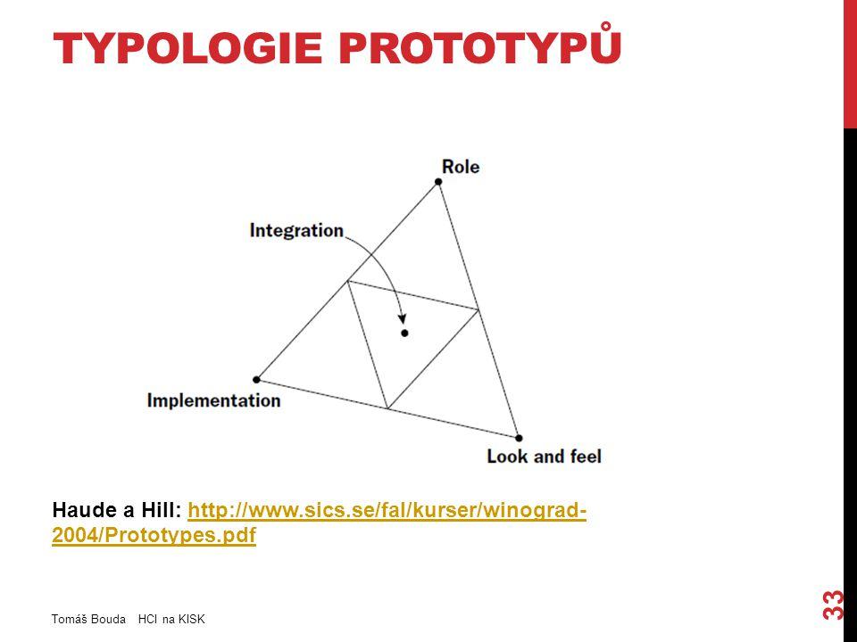 TYPOLOGIE PROTOTYPŮ Haude a Hill: http://www.sics.se/fal/kurser/winograd- 2004/Prototypes.pdfhttp://www.sics.se/fal/kurser/winograd- 2004/Prototypes.p