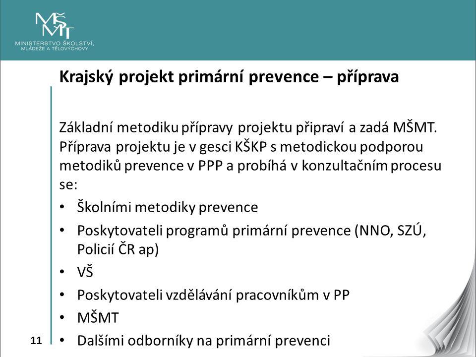 11 Krajský projekt primární prevence – příprava Základní metodiku přípravy projektu připraví a zadá MŠMT.