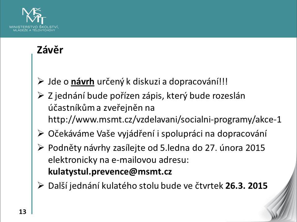 13 Závěr  Jde o návrh určený k diskuzi a dopracování!!.