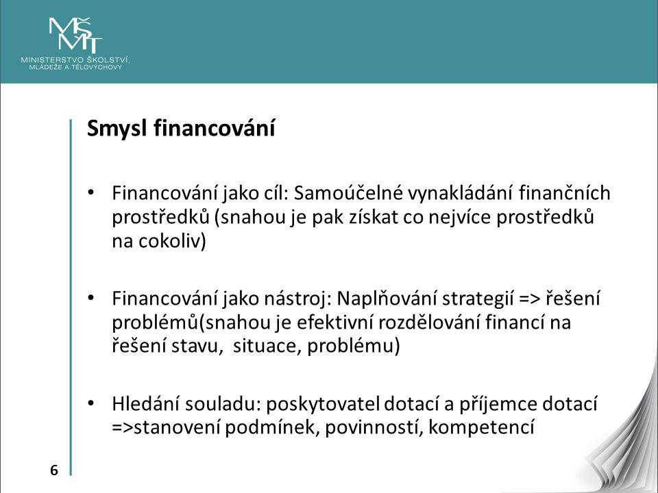 6 Smysl financování Financování jako cíl: Samoúčelné vynakládání finančních prostředků (snahou je pak získat co nejvíce prostředků na cokoliv) Financování jako nástroj: Naplňování strategií => řešení problémů(snahou je efektivní rozdělování financí na řešení stavu, situace, problému) Hledání souladu: poskytovatel dotací a příjemce dotací =>stanovení podmínek, povinností, kompetencí