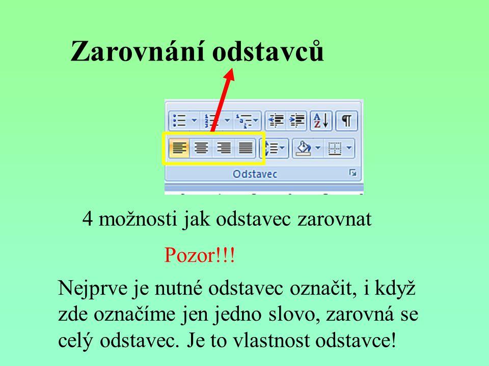 Zarovnání odstavců 4 možnosti jak odstavec zarovnat Pozor!!.