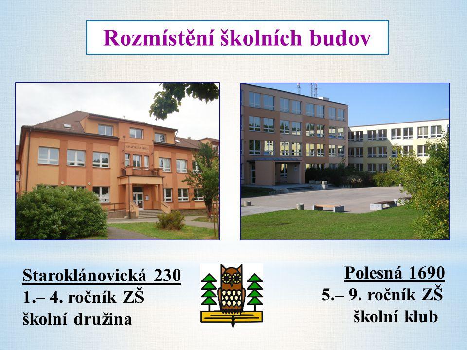 Rozmístění školních budov Staroklánovická 230 1.– 4. ročník ZŠ školní družina Polesná 1690 5.– 9. ročník ZŠ školní klub