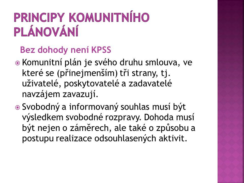 Bez dohody není KPSS  Komunitní plán je svého druhu smlouva, ve které se (přinejmenším) tři strany, tj. uživatelé, poskytovatelé a zadavatelé navzáje