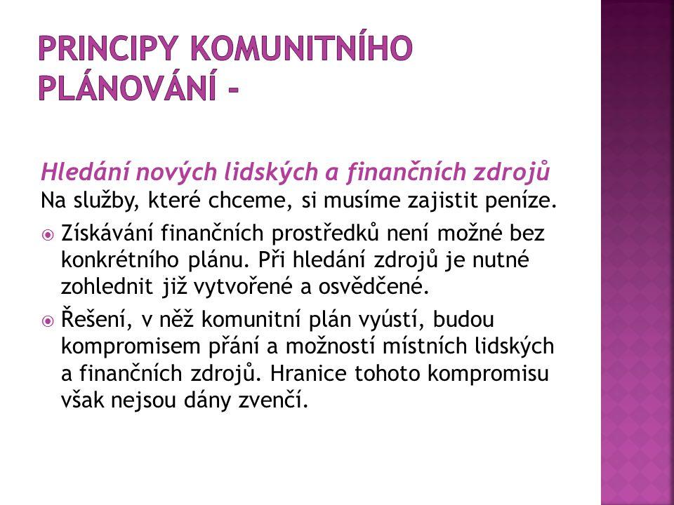 Hledání nových lidských a finančních zdrojů Na služby, které chceme, si musíme zajistit peníze.  Získávání finančních prostředků není možné bez konkr