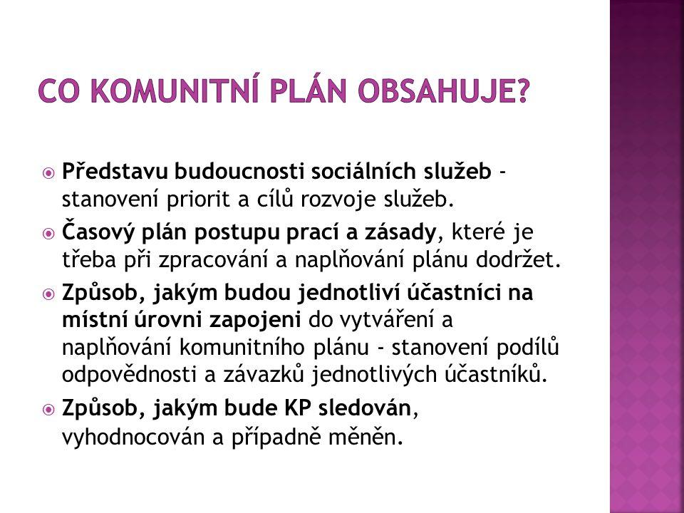  Představu budoucnosti sociálních služeb - stanovení priorit a cílů rozvoje služeb.  Časový plán postupu prací a zásady, které je třeba při zpracová