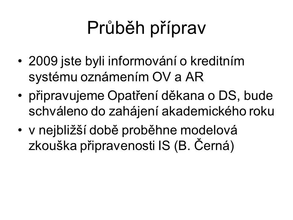 Průběh příprav 2009 jste byli informování o kreditním systému oznámením OV a AR připravujeme Opatření děkana o DS, bude schváleno do zahájení akademického roku v nejbližší době proběhne modelová zkouška připravenosti IS (B.