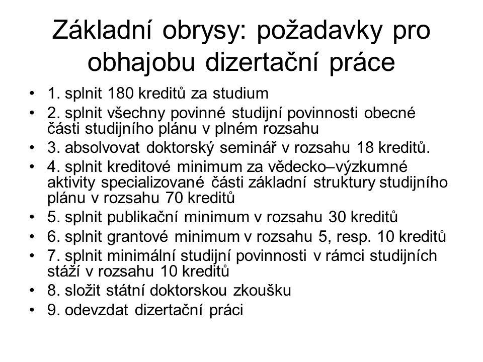 Základní struktura studijních povinností http://www.ff.cuni.cz/FF-7650-version1- DSP_kredity_DEFINITIV.pdfhttp://www.ff.cuni.cz/FF-7650-version1- DSP_kredity_DEFINITIV.pdf