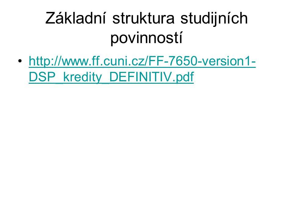 Základní struktura studijních povinností http://www.ff.cuni.cz/FF-7650-version1- DSP_kredity_DEFINITIV.pdfhttp://www.ff.cuni.cz/FF-7650-version1- DSP_