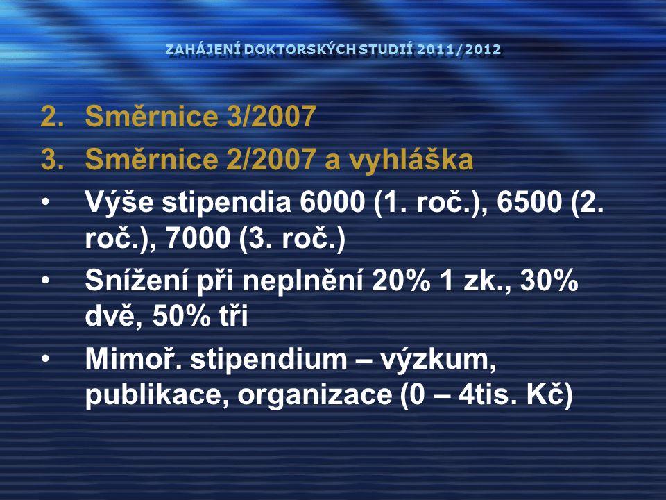 ZAHÁJENÍ DOKTORSKÝCH STUDIÍ 2011/2012 2.Směrnice 3/2007 3.Směrnice 2/2007 a vyhláška Výše stipendia 6000 (1. roč.), 6500 (2. roč.), 7000 (3. roč.) Sní