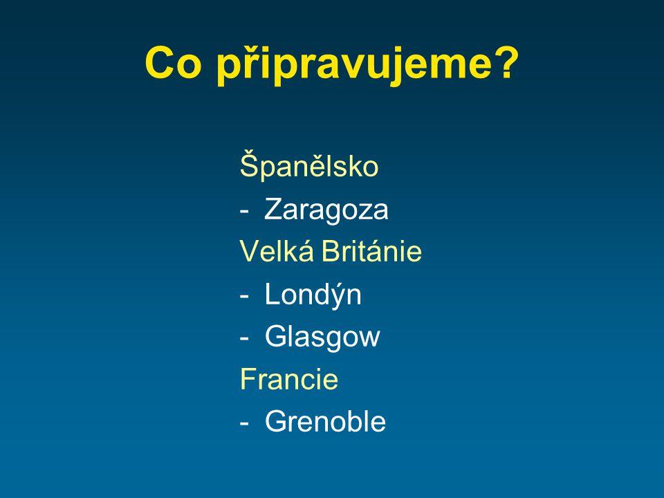 Co připravujeme Španělsko -Zaragoza Velká Británie -Londýn -Glasgow Francie -Grenoble