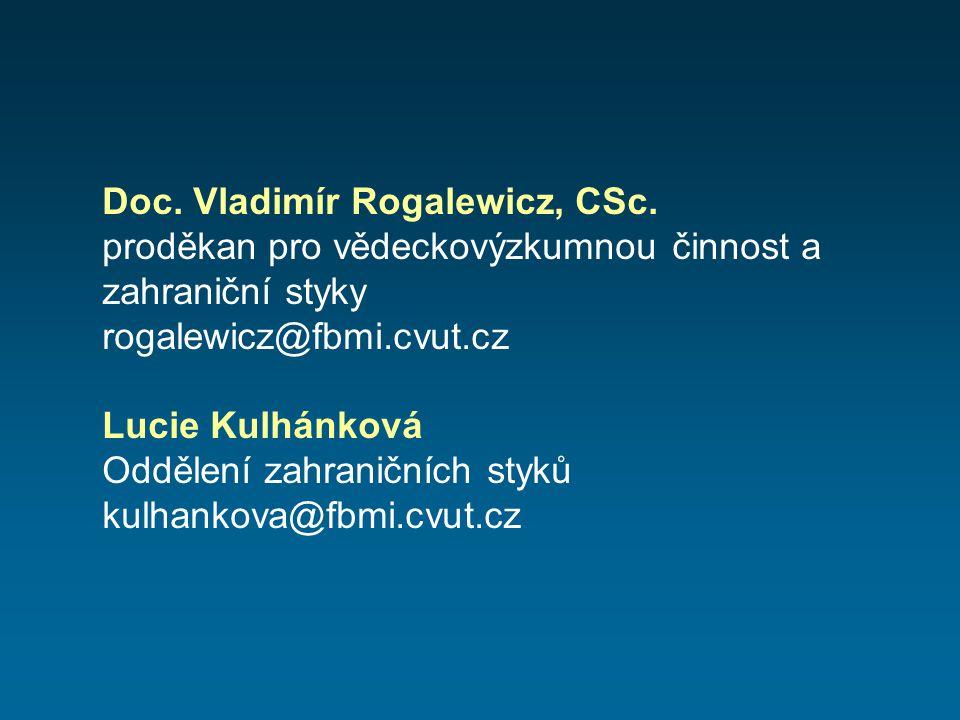 Doc. Vladimír Rogalewicz, CSc. proděkan pro vědeckovýzkumnou činnost a zahraniční styky rogalewicz@fbmi.cvut.cz Lucie Kulhánková Oddělení zahraničních