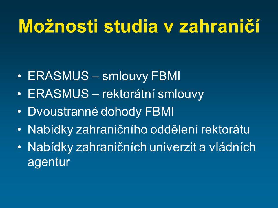 Možnosti studia v zahraničí ERASMUS – smlouvy FBMI ERASMUS – rektorátní smlouvy Dvoustranné dohody FBMI Nabídky zahraničního oddělení rektorátu Nabídky zahraničních univerzit a vládních agentur