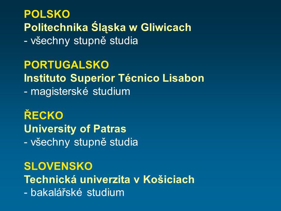 POLSKO Politechnika Śląska w Gliwicach - všechny stupně studia PORTUGALSKO Instituto Superior Técnico Lisabon - magisterské studium ŘECKO University o