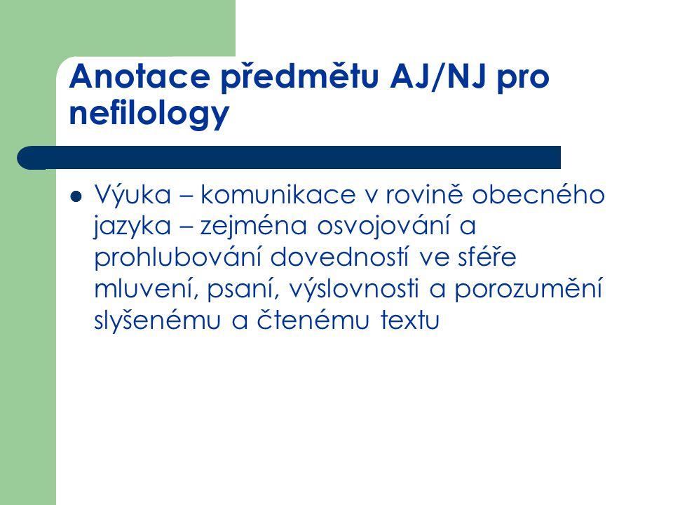 Anotace předmětu AJ/NJ pro nefilology Výuka – komunikace v rovině obecného jazyka – zejména osvojování a prohlubování dovedností ve sféře mluvení, psa